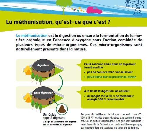 Illustration d'un projet de production d'énergie par méthanisation :