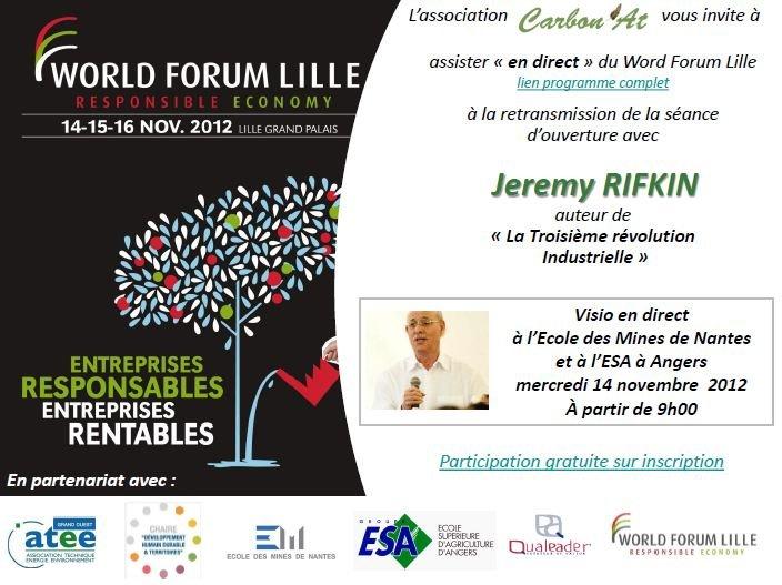 Evènement exceptionnel - Jeremy RIFKIN en direct du World Forum Lille le 14 novembre dans A L'OUEST capture8