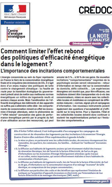 Publication du CREDOC : Comment lutter contre l'effet rebond ? dans ENERGIE capture8