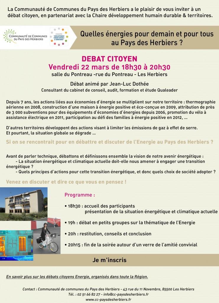 SAVE THE DATE : 22/03 - Débat citoyen Transition énergétique aux Herbiers dans A L'OUEST image